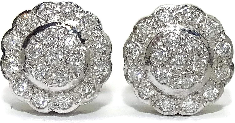 Pendientes clasicos de oro blanco de 18k con 0.76cts de diamantes auténticos. 1.20cm de diámetro, Cierre presión
