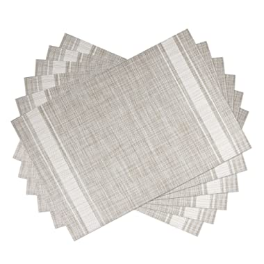 SICOHOME Placemats Set of 6,White,Soft Woven Vinyl Placemats for Home,Kitchen,Office and Outdoor
