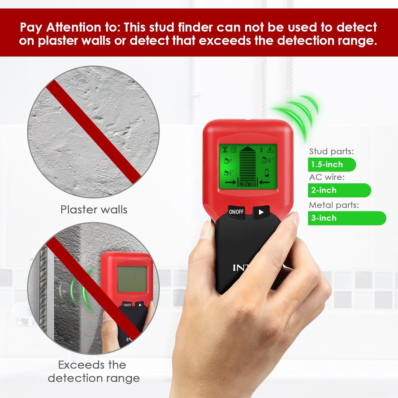 INTEY Détecteur de Matériaux 3 en 1 Multi fonctionnel Avec 3 Modes Ecran LCD Métal Fil AC Stud Capteur de Matériaux en Rouge