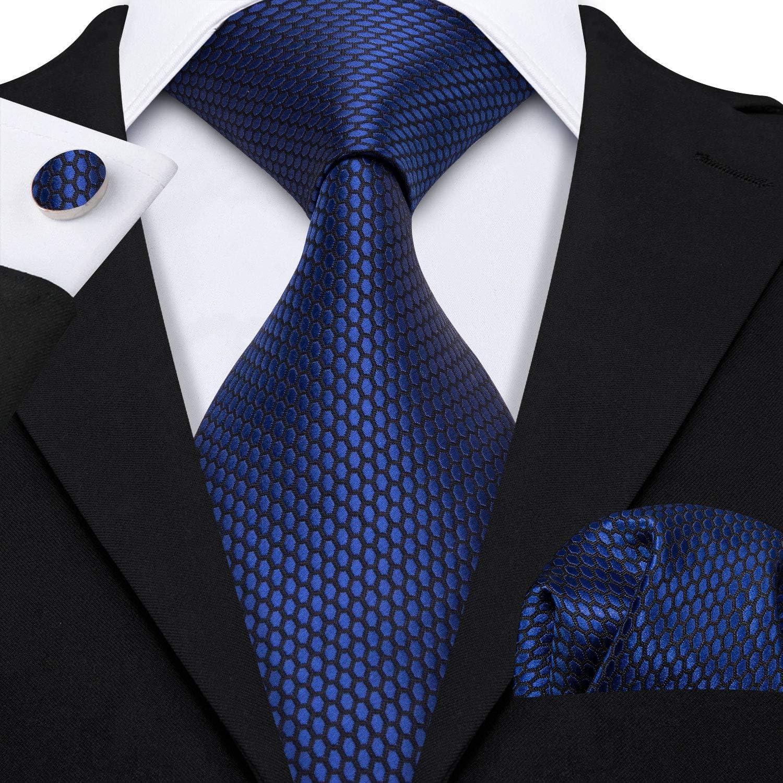 Barry.Wang Uomo Stripe Tie Set Pochette gemello grigio seta Cravatte formale