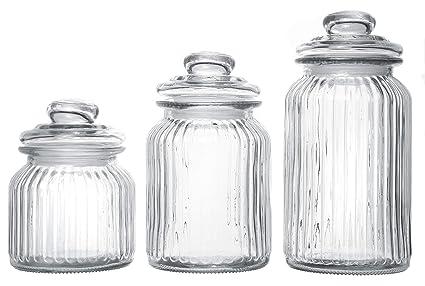 97ad54dd1c95 Exclusive Line Ripple Food Storage Tall Glass Jar Canister with Airtight  Lid, 42.5 Ounces, 31.8 Ounces, 21.3 Ounces - 3-Piece Set