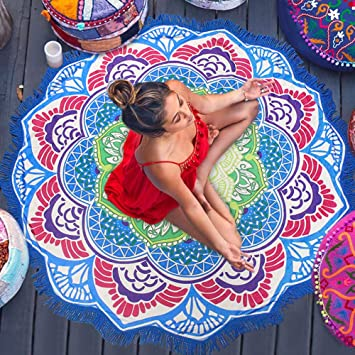 Preciosa Bohemia Toalla de Playa Fular Colorida Esterilla de Yoga Perfecto Pareo Toalla Mandala para Relajarse en la Arena, Picnic y Decoración en la Pared: ...