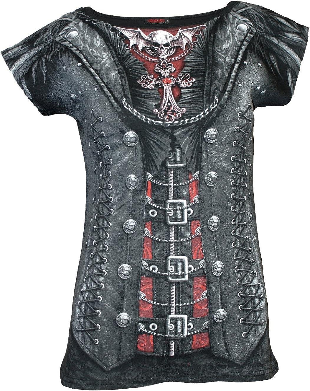 TALLA S. Spiral Gothess Wrap Negro Camiseta Estampada para Mujer