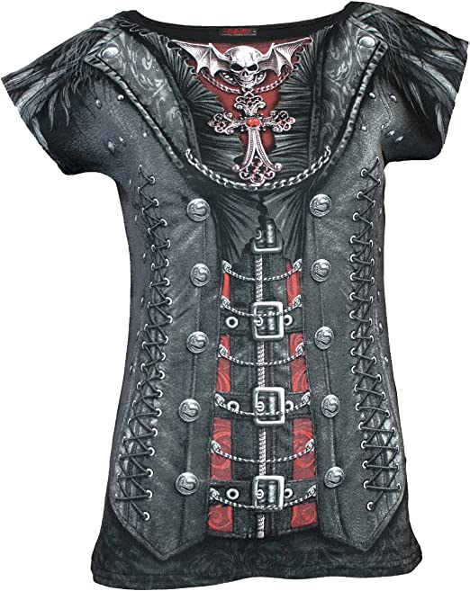 Spiral Gothess Wrap Negro Camiseta Estampada para Mujer