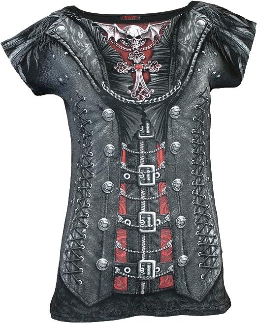 TALLA XL. Spiral Gothess Wrap Negro Camiseta Estampada para Mujer