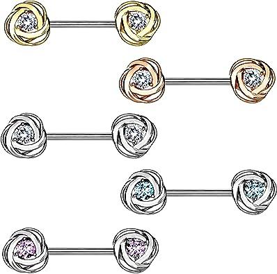 Poitrine Intime Bijou Piercing Tige Haltère 1,6mm Plaqué or avec 2