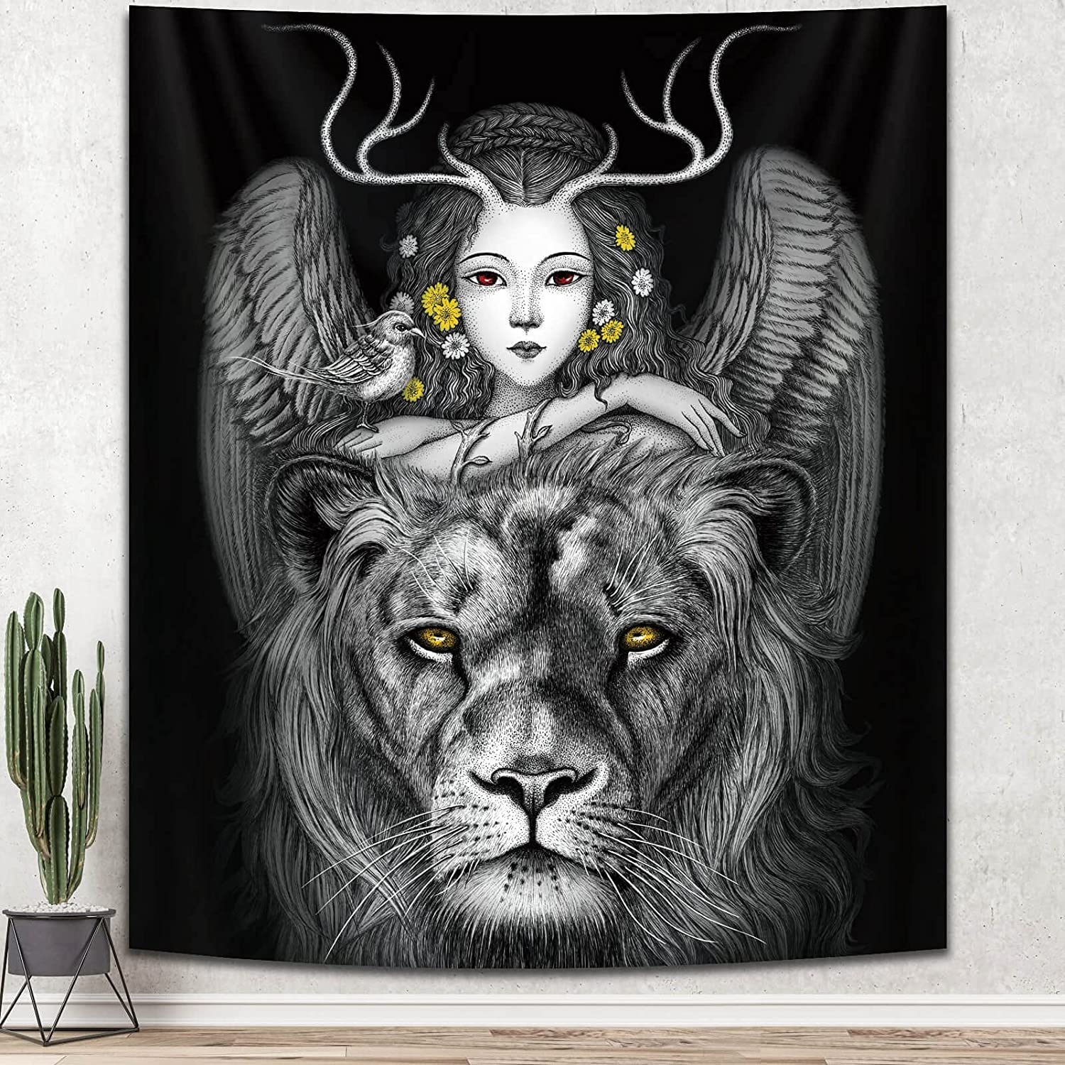 Hippie Girl Flower Tapestry, Black and White Lion Tapestry for Wall Hanging Decor, Bedroom Aesthetics Bohemian Tapestry for Teen Girl Dorm,Living Room,Home (59 x 51 inches)