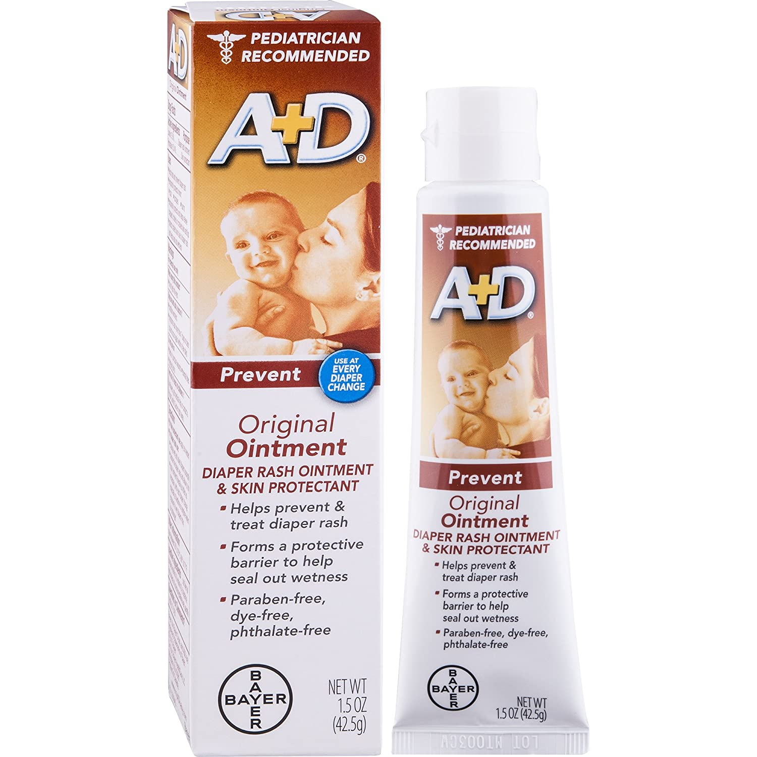 A+D Original Diaper Rash Ointment, Baby Skin Protectant With Lanolin and Petrolatum, Seals Out Wetness, Helps Prevent Diaper Rash, 1.5 Ounce Tube A&D 454494