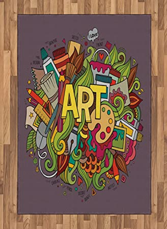 Amazon Com Lunarable Art Area Rug Hand Drawn Doodle Style Colorful