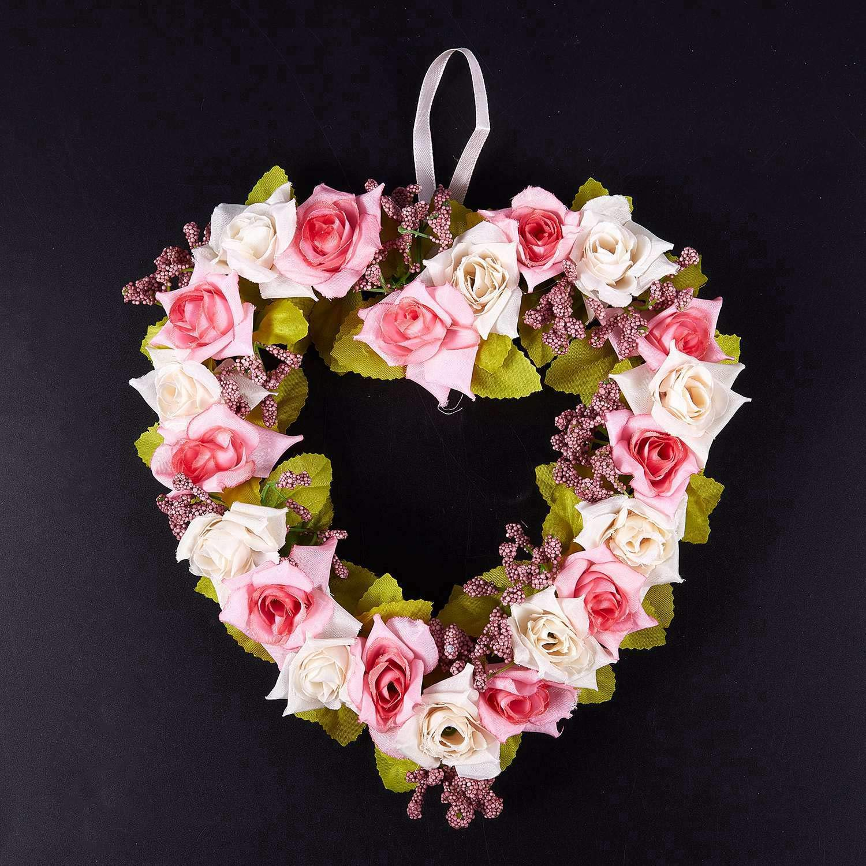 VYNBDA Heart Decoraci/óN De La Puerta De La Guirnalda De Flores Artificiales En Forma Guirnaldas Colgantes con Cinta De Seda para La Decoraci/óN De Bodas Red Rojo Purp/úReo 22x21x3.5cm