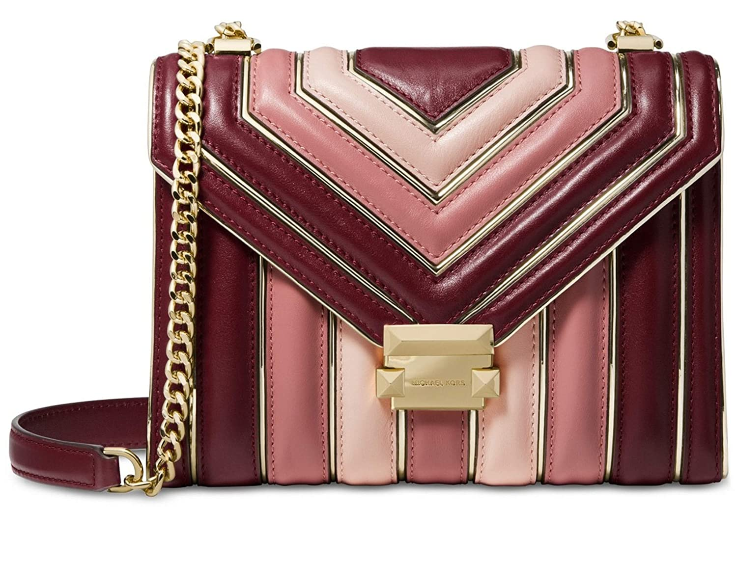 MICHAEL Michael Kors Whitney Large Quilted Tri-Color Polished Leather  Shoulder Bag, Oxblood Pink Multi  Handbags  Amazon.com d81ee5f110