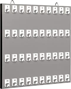 Key Rack, Key Storage #40PGS with 40 Numbered Hooks (40 Sets of Tag & Ring Included) - Made in USA