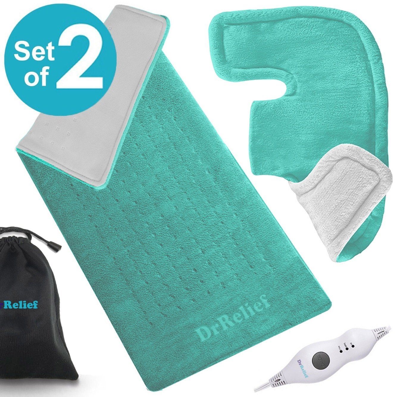 Heating Pad Gift Set – Shoulder & Neck Heating Pad and Extra-Large 12 x 24 Inch Heating Wrap for Back or Abdominal Pain Relief – Moist Heating Option with Auto Shut Off - One Year Warranty