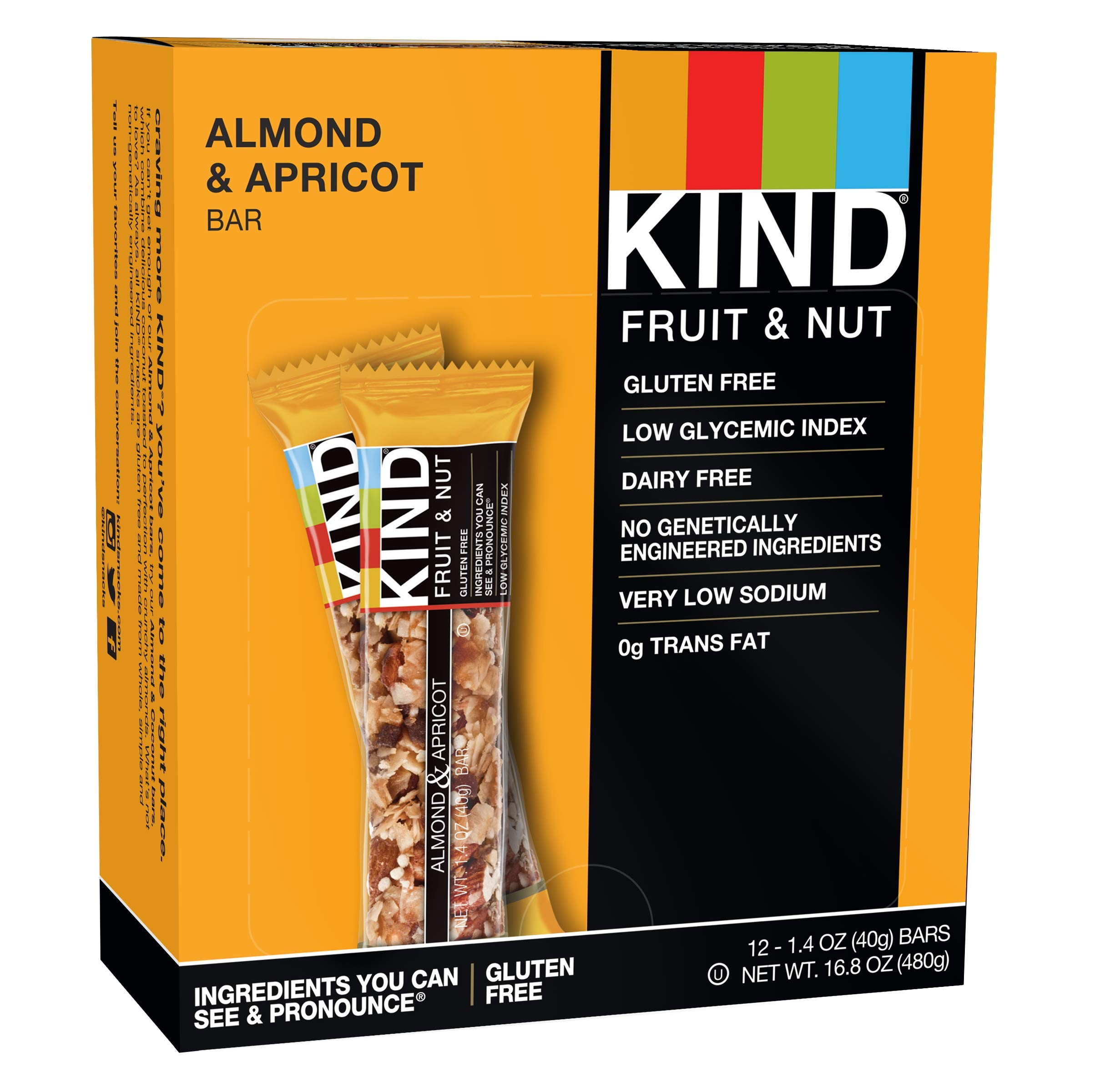 KIND Fruit & Nut Bar, Almond & Apricot, 1.4-Ounce Bars (Pack of 12) by KIND