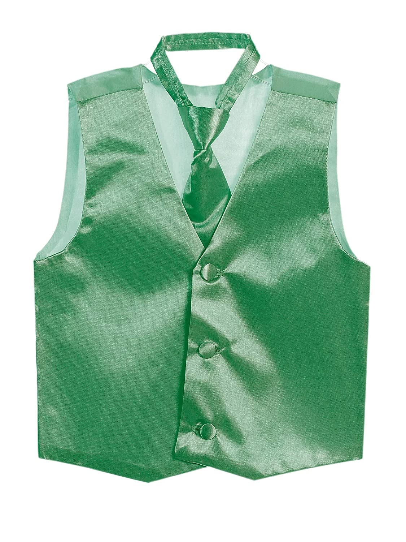 Tip Top Kids Big Boys Emerald Green Three Button Satin Vest Tie 2 Pc Set 8-16