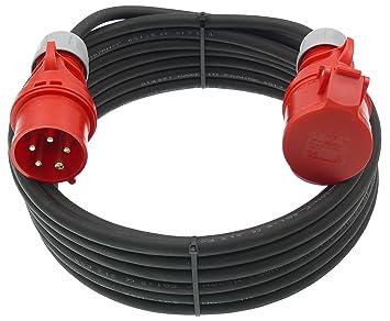 15m CEE Starkstromkabel 5x2,5mm² 16A mit Phasenwender H07RN-F Verlängerungskabel