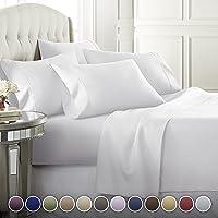 Danjor Linens 6 件套酒店奢華柔軟 1800 系列優質床單套裝,深口袋,低緻敏性,抗皺和褪色床上用品套裝