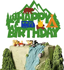 Camping Birthday Cake Topper Happy Birthday Sign Cake Decorations for Camper Hunter Lumberjack Forest Woodland Animal Campfire Themed for Kids Bday Party Supplies Double Sided (camping)