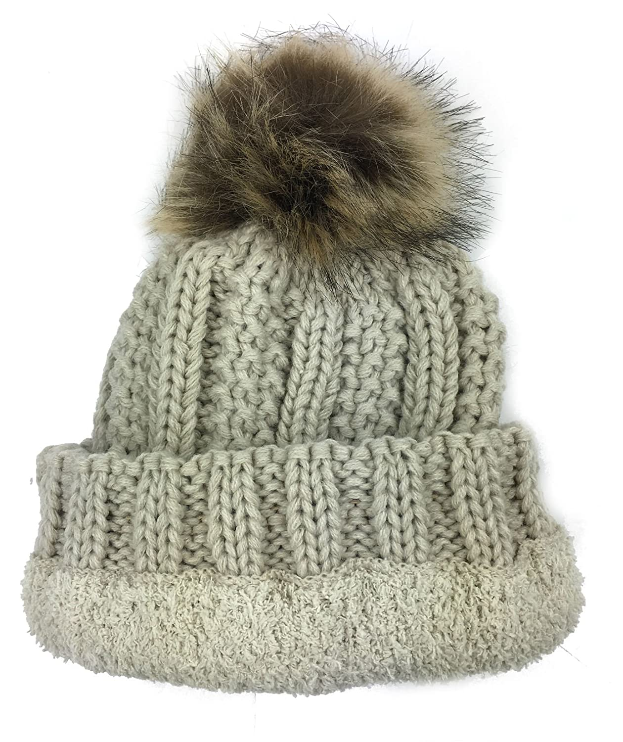 bb3f0c0ad01 Amazon.com  Plum Feathers Thick Faux Fur Pom Pom Fleece Lined Skull Cap Cuff  Beanie for Kids Ages 2-7 (Beige)  Clothing