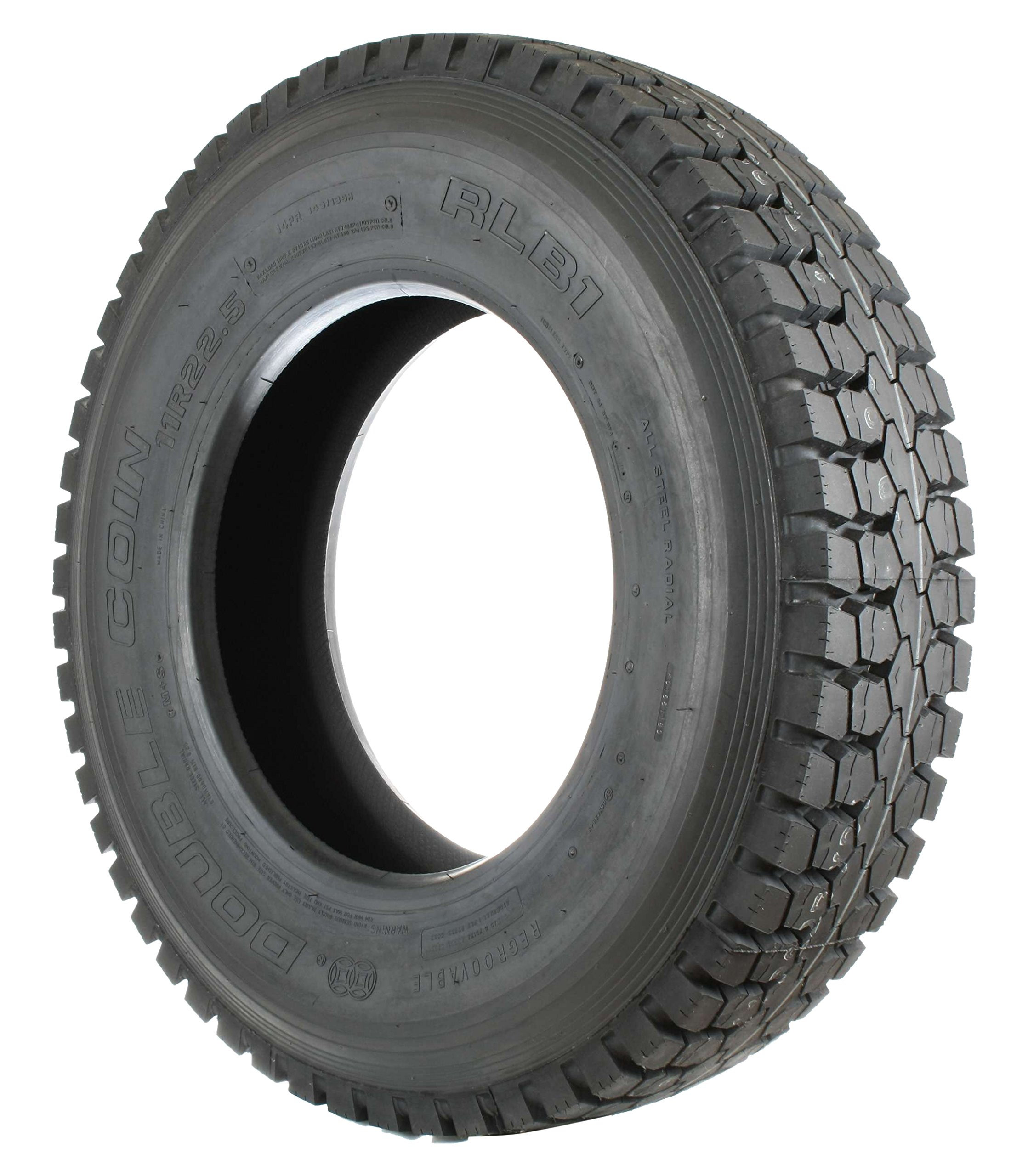 Double Coin RLB1 Open Shoulder Drive-Position Commercial Radial Truck Tire - 245/70R19.5 16 ply