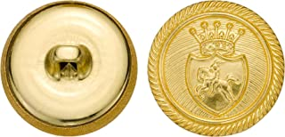 product image for C&C Metal Products 5312 Royal Horse Crest Metal Button, Size 33 Ligne, Gold, 36-Pack