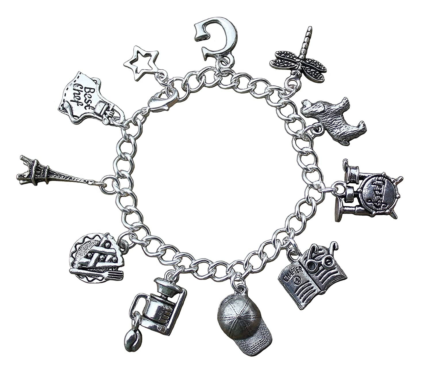 Amazon Gilmore Girls Charm Bracelet Pewter Charms on Silver