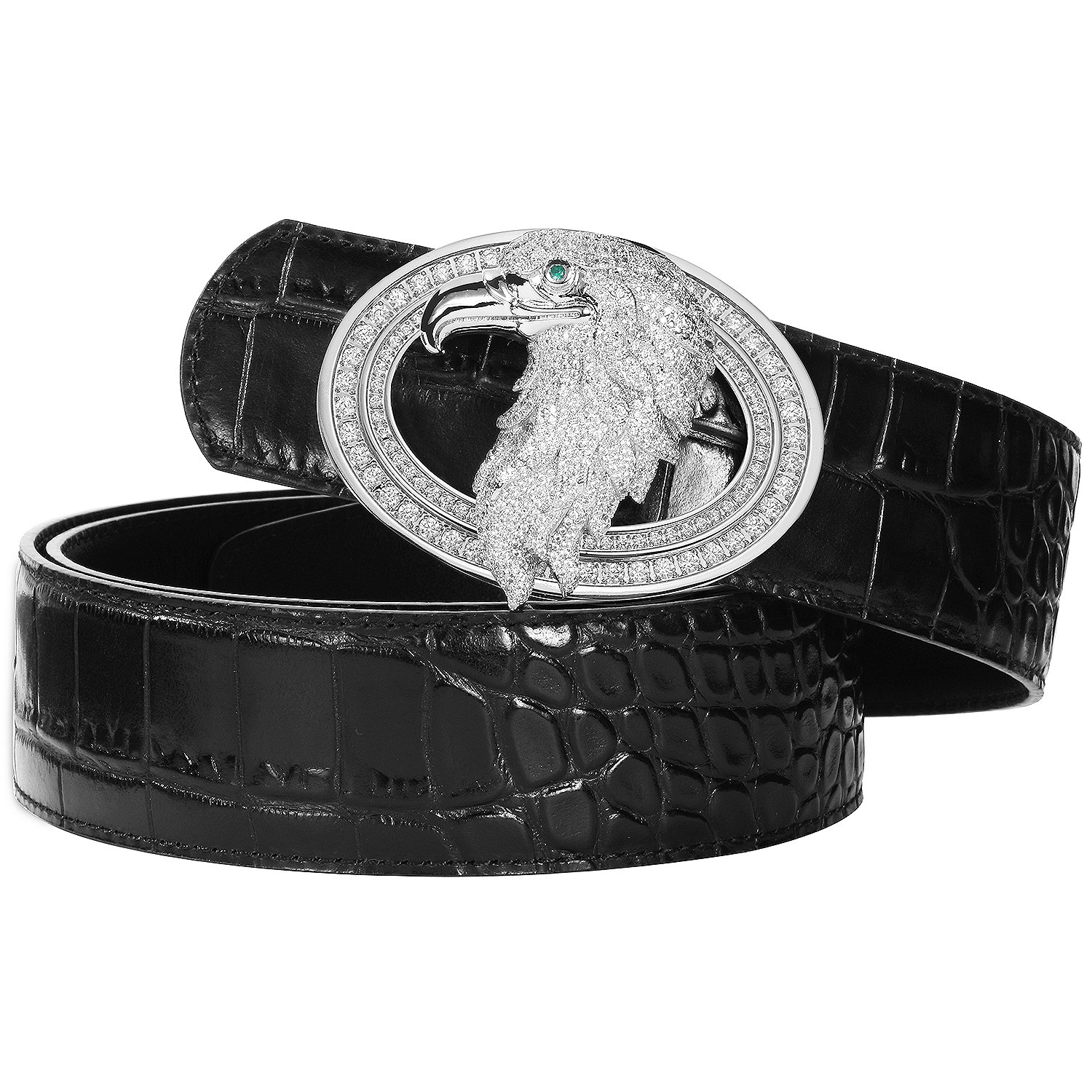Men's Belts Luxury Genuine Leather Black Dress Belt for Men Alligator Pattern Eagle Plaque Buckle