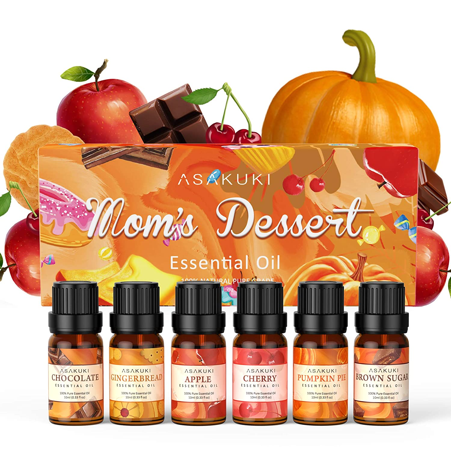 ASAKUKI Essential Oils Set with Gingerbread, Brown Sugar, Chocolate, Cherry, Apple and Pumpkin Pie Scents; Fall and Christmas Essential Oils for Diffusers for Home, Car, Candles and Soap