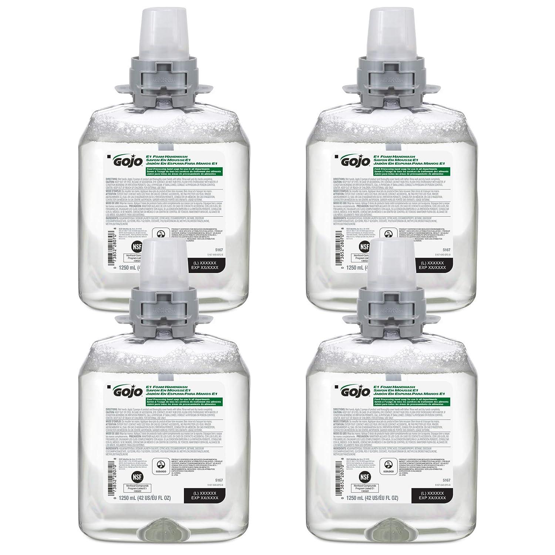 GOJO E1 Foam Handwash, Fragrance Free, 1250 mL Handwash Refill for GOJO FMX-12 Push-Style Hand Soap Dispenser (Pack of 4) - 5167-04