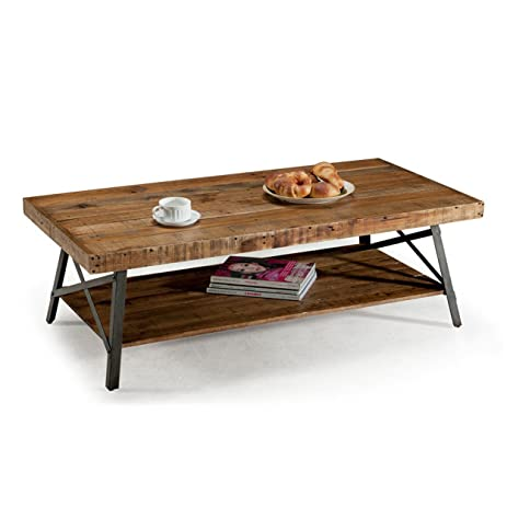 Contemporary Style Rustic Reclaimed Wood Rectangle Shaped Cocktail Coffee  Table With Bottom Shelf | Metal Legs