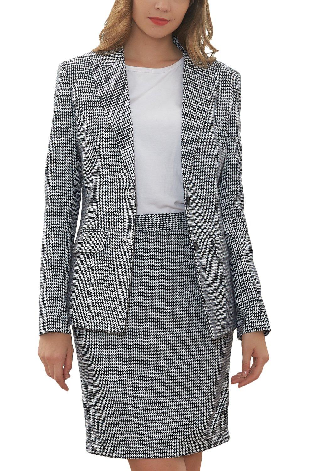 Hanayome Women's Suit Sets Slim Fit Two Pieces Casual Blazer Separate Short Dress MI2 (Grey, 16W) by Hanayome
