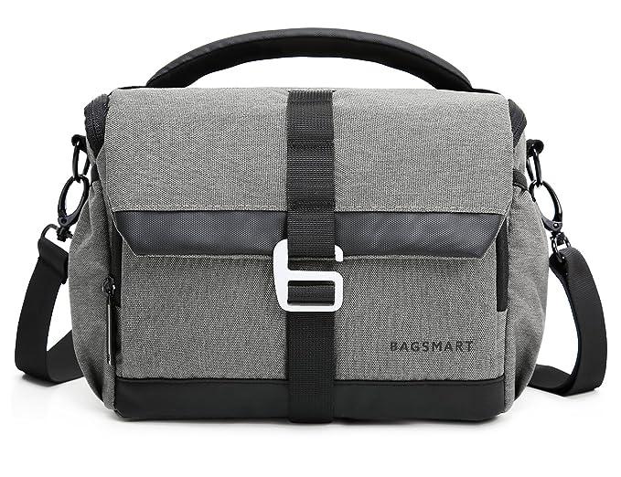 Amazon.com: BAGSMART DSLR/SLR - Bolso bandolera para cámaras ...
