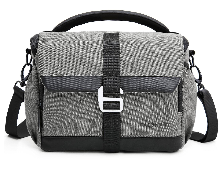 BAGSMART DSLR/SLR Camera Shoulder Bag Compact Gadget Bag with Thicken Top Handle & Adjustable Shoulder Strap, Grey
