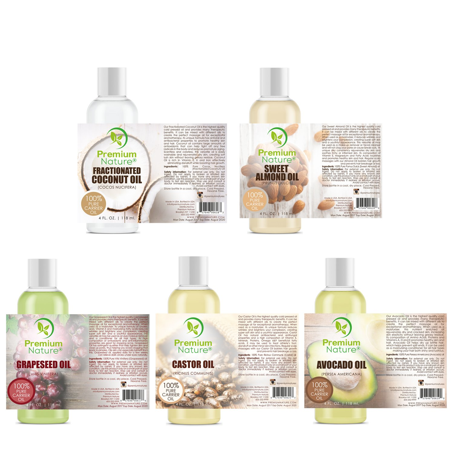 Carrier Oils For Essential Oil - 5 Piece Variety Pack Gift Set Coconut Oil Castor Oil Grapeseed Oil Avocado Oil & Sweet Almond Best Oils for Stretch Mark Dry Skin Hair Body Massage Mixing 4oz Each by Premium Nature (Image #2)