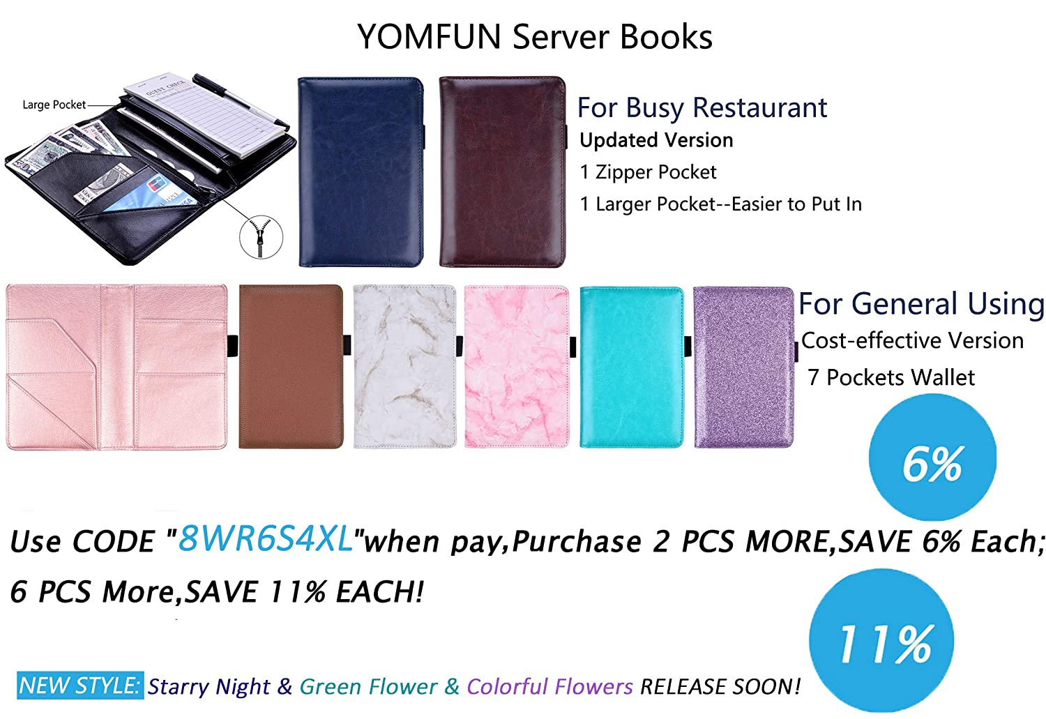 """Guest Check Book Holder Server Book Waitress Organizer with Pen Holder Fit Waiter Apron 5X 7.7/"""" YOMFUN Waiter Book Server Wallet Waitress BookServer Pads Marble Gray"""