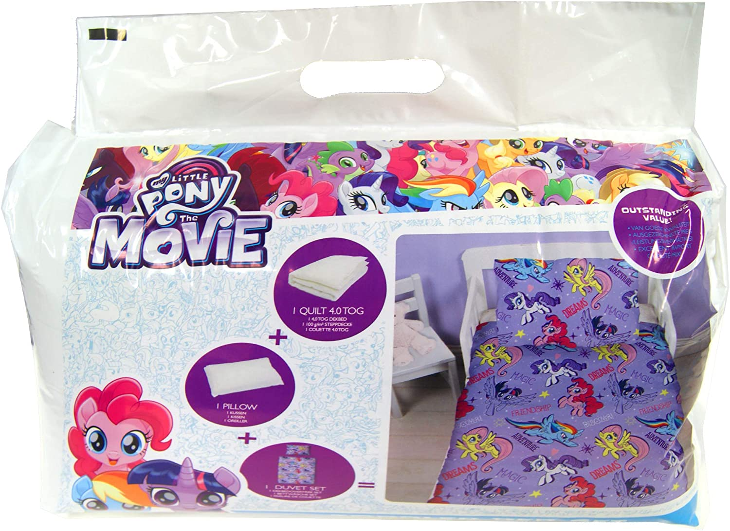 Cartoon Characters Brands :Junior Bed Set,4 Piece Bedding Bundle Quilt,Pillow Pillowcase,Duvet Cover (My Little Pony)