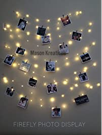 Mason FireFly Lights Silver Wire - Craft clips & Batteries included! Fairy lights battery operated for bedroom, dorm...