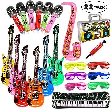 Lewo 22 Pack Guitarra Inflable 6 Guitarras Inflables, 6 Micrófonos, 6 Gafas de Sombra del Obturador, 1 Radio, 1 Teclado de Piano, 1 Saxofon y 1 Bomba: Amazon.es: Juguetes y juegos