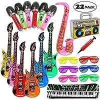 Lewo 22 STÜCKE Aufblasbare Gitarre Radio Klavier Saxophon Mikrofone Shutter Brille Party Requisiten Aufblasbare Instrumente mit Pumpe