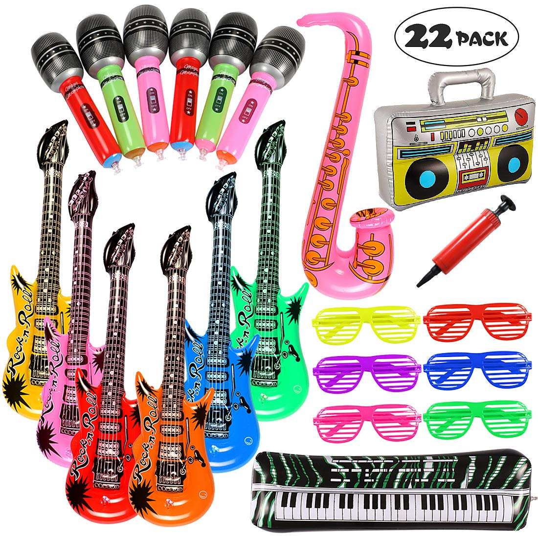 24 INFLATABLE MICROPHONES Party Favor Rock Free Shipping 48 INFLATABLE GUITARS