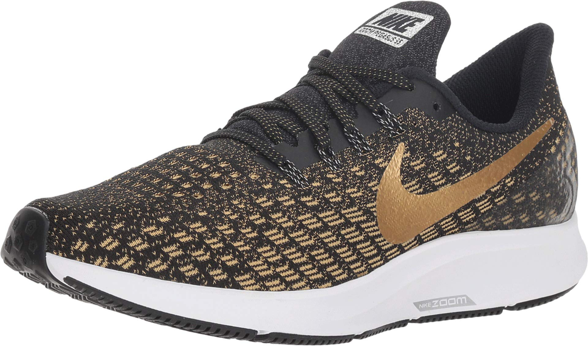 Nike Women's Zoom Pegasus 35 Running Shoe Black/Metallic Gold/Wheat Gold Size 5 M US by Nike (Image #1)