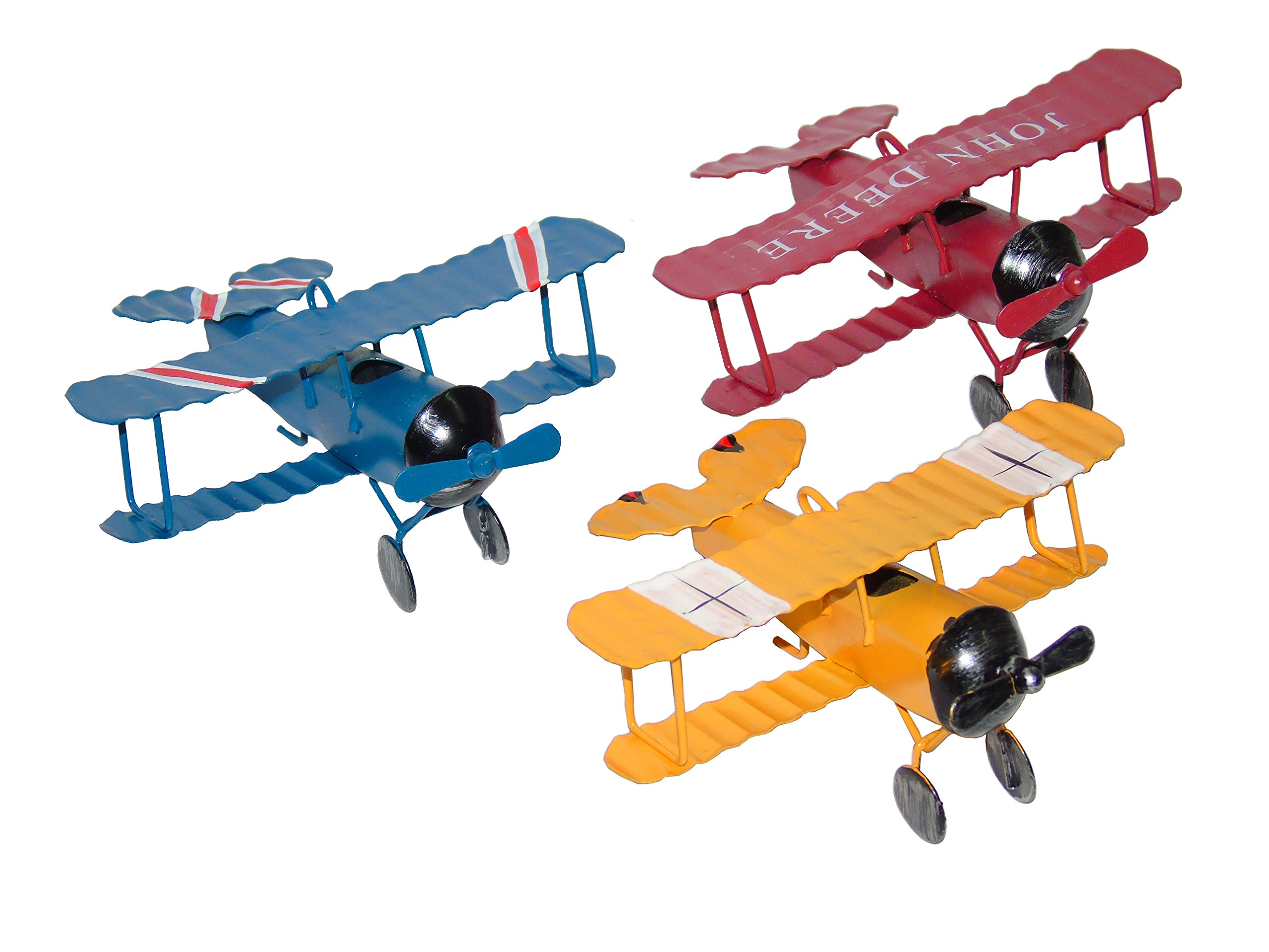 Ceeyali Vintage Wrought Iron Metal Plane Aircraft Models Handicraft for Photo Props/Christmas/Kids Toy/Cake Topper/Home Decor/Ornament/Desktop Decoration Pack of 3