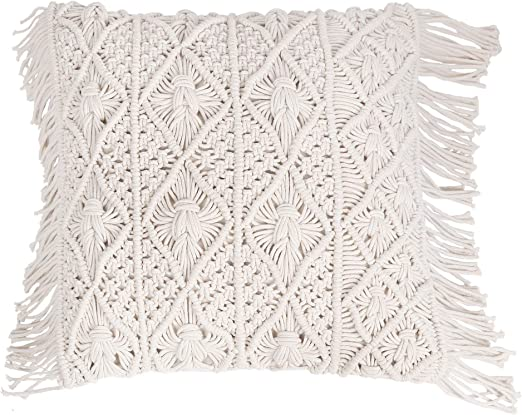 Handcrafted 100/% Cotton Knotted Macrame Cushion Cover 16x16/""