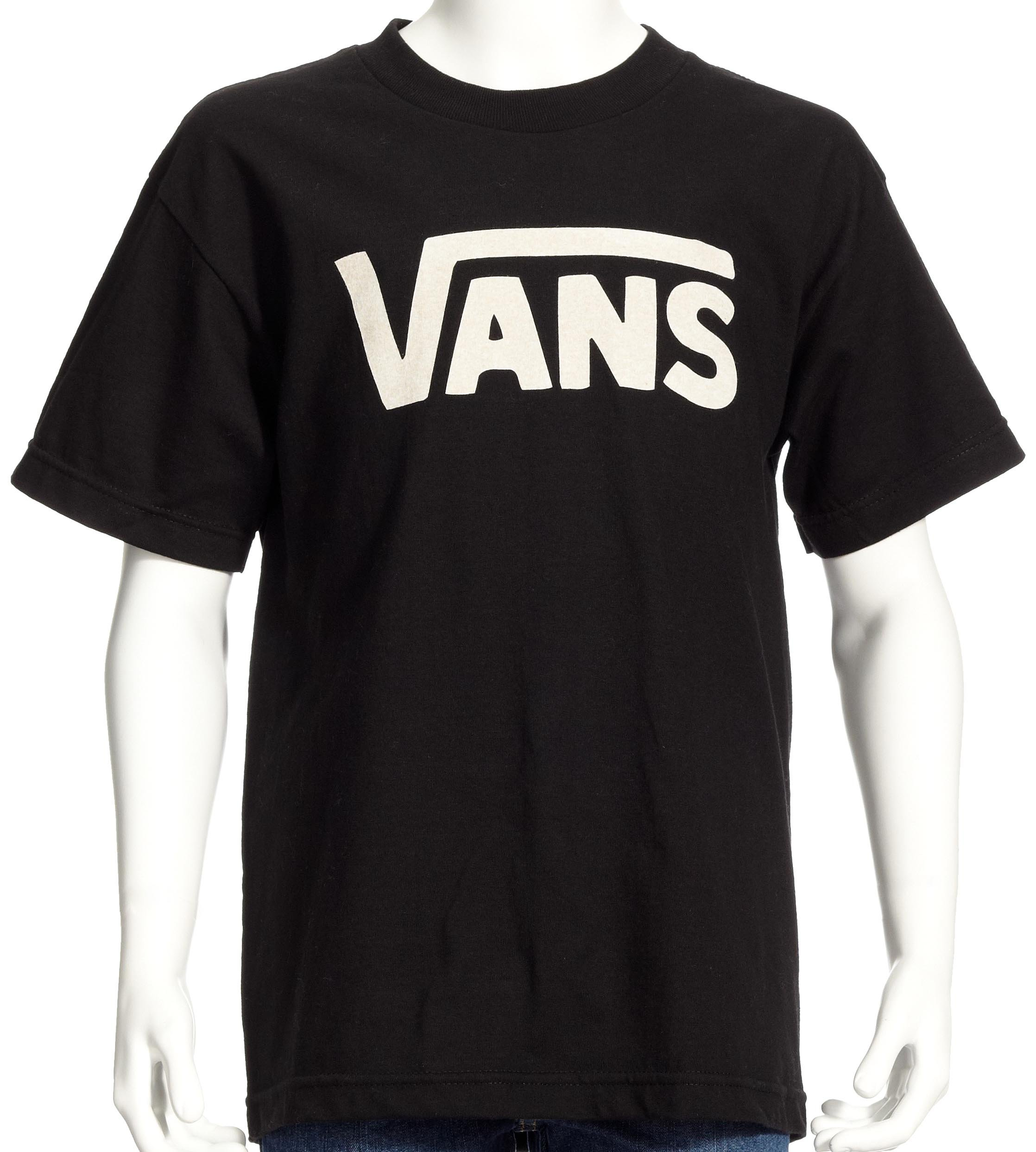 Vans Kids Boys Classic Tee (Big Kids), Black/White, LG (14-16