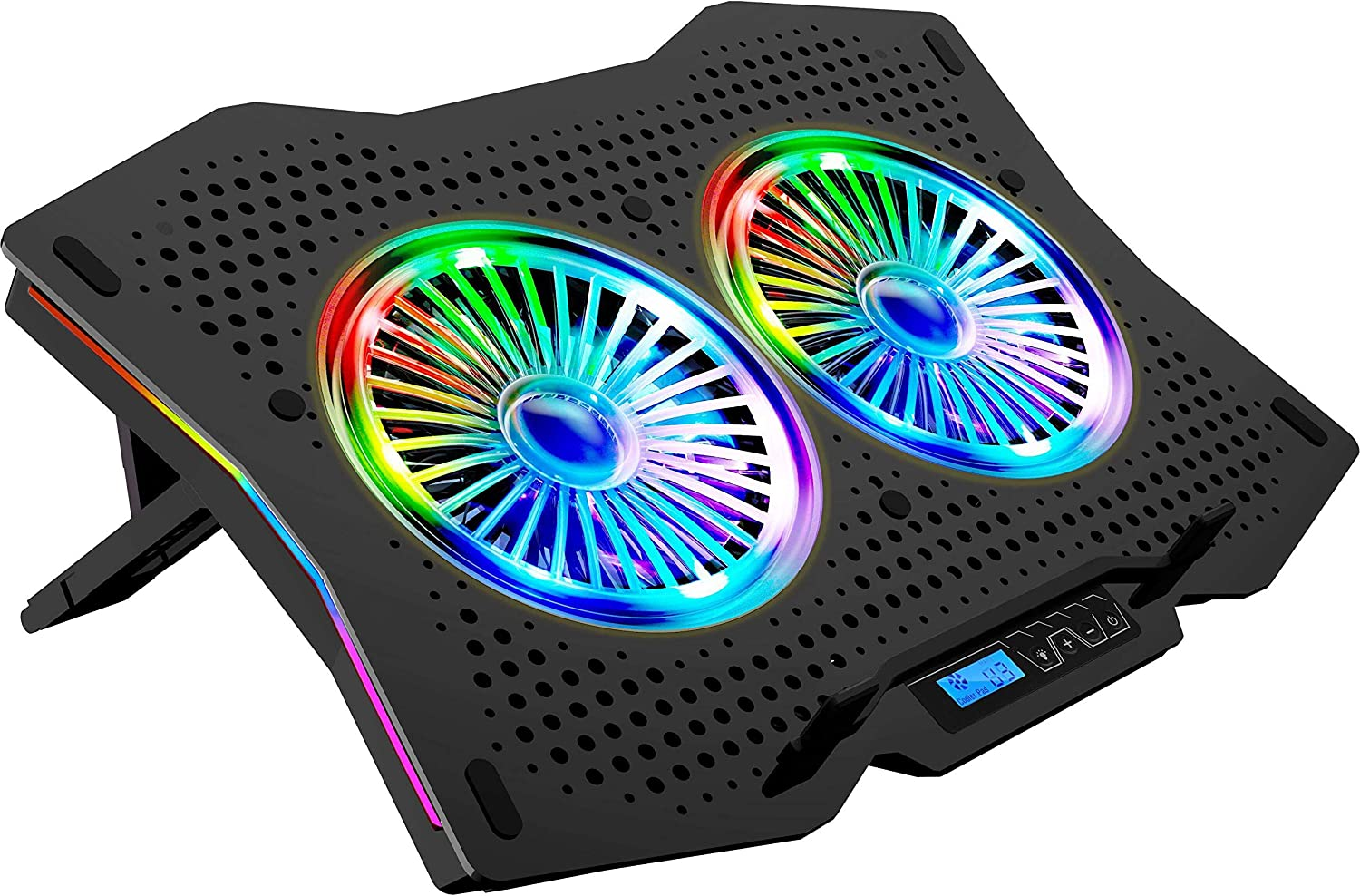 LETUSTO RGB Laptop Cooling Pad, Portable Laptop Cooler Stand for up to 17'' Notebooks, 2 Fans with 17dBA and 2 USB Ports