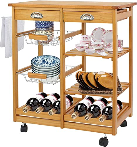 BBBuy Wooden Rolling Kitchen Storage Island Cart Dining Trolley Basket Stand Counter Top Table Microwave Cart Rack w/Drawer