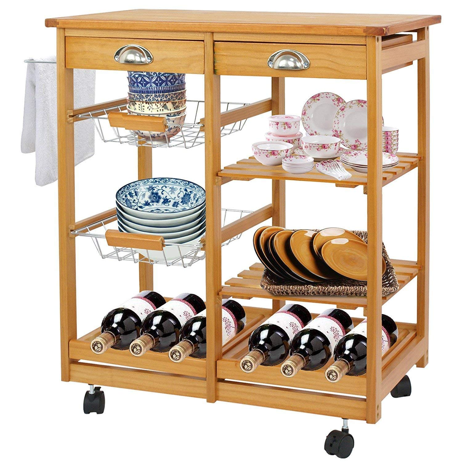 BBBuy Wooden Rolling Kitchen Storage Island Cart Dining Trolley Basket Stand Counter Top Table Microwave Cart Rack w/Drawers
