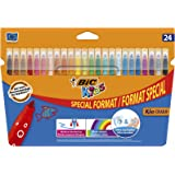 BIC Kids Kid Couleur Felt Tip Colouring Pens - Assorted Colours, Cardboard Wallet of 18+6