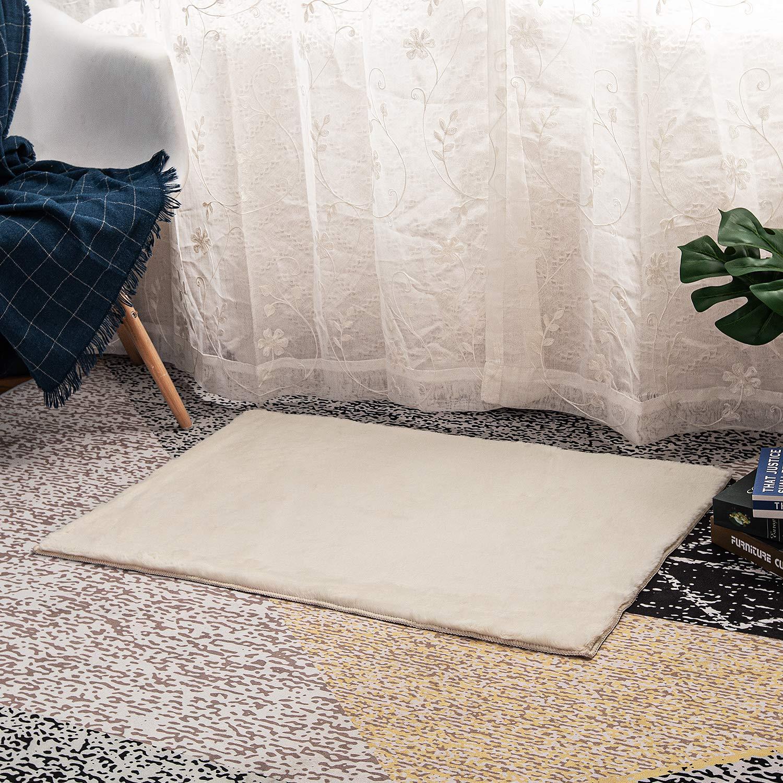 Area Rug Bedroom Plush-Shag Faux-Fur - 2x3 Ivory Non Slip Bottom Washable