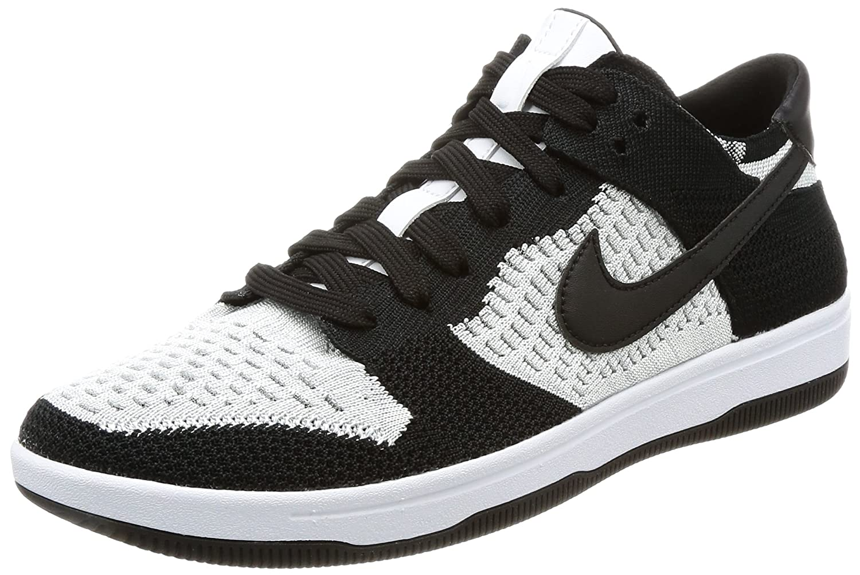 NIKE Men's Dunk Flyknit Ankle-High Basketball Shoe B00KX3DT5W 8.5 D(M) US|White/ Black